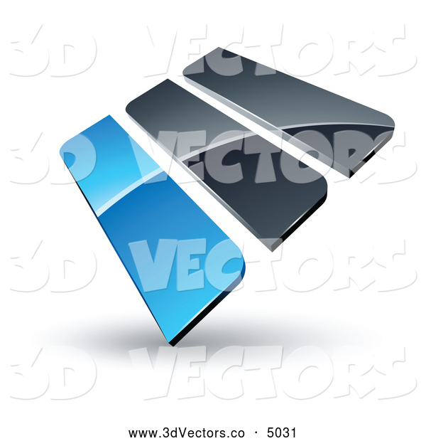 3d Vector Clipart of a Reflective Pre-Made Logo of Blue and Gray Bars