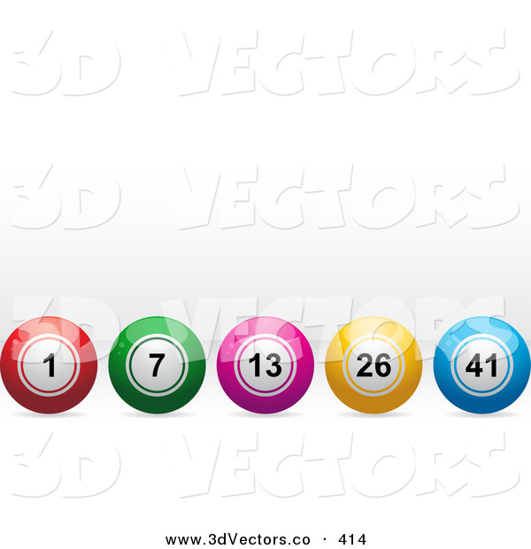 3d Vector Clipart of a Row of Red, Green, Pink, Yellow and Blue Bingo or Lottery or Billiard Balls