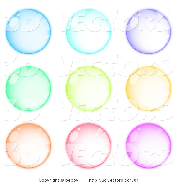 3d Vector Clipart of a Set of 9 Blue, Purple, Green, Orange, Pink and Purple Orbs