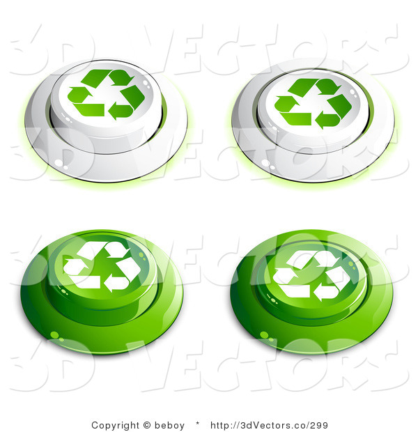 3d Vector Clipart of a Set of Four White and Green Buttons with Recycle Arrows on Them, Includes Depressed Buttons