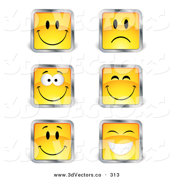 3d Vector Clipart of a Set of Six Yellow Square Happy and Sad Emoticon Faces with Silver Borders