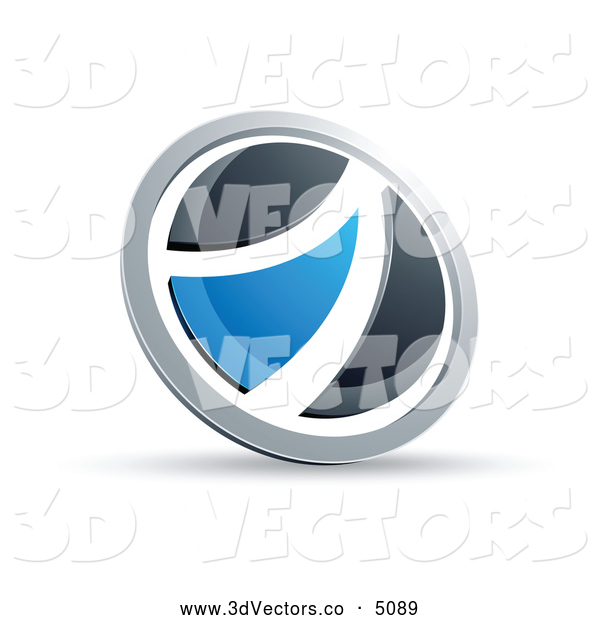 3d Vector Clipart of a Shiny Black and Blue Round Button