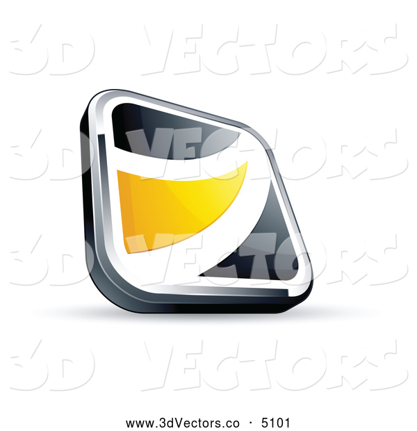 3d Vector Clipart of a Shiny Black Square Button with a Yellow Wave