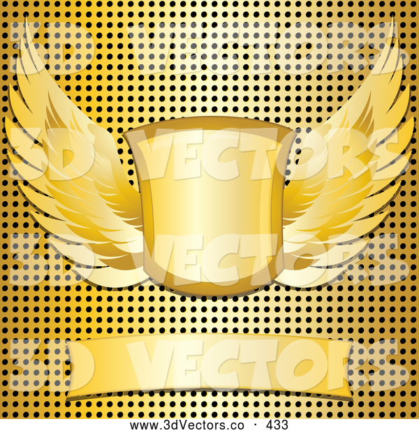 3d Vector Clipart of a Shiny Blank Banner with a Winged Shield over a Gold Metal Grid Background