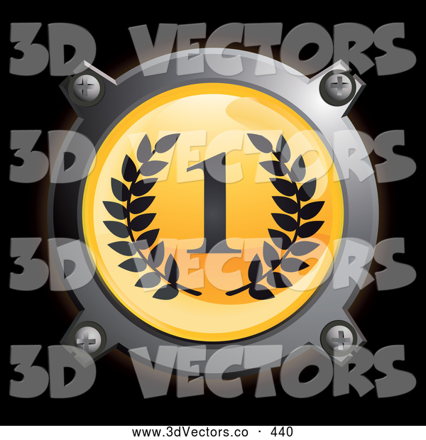 3d Vector Clipart of a Shiny Chrome and Yellow First Place Icon Button with Laurels