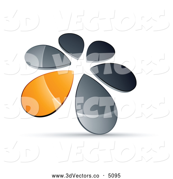 3d Vector Clipart of a Shiny Circle of Chrome and Orange Droplets Forming a Windmill