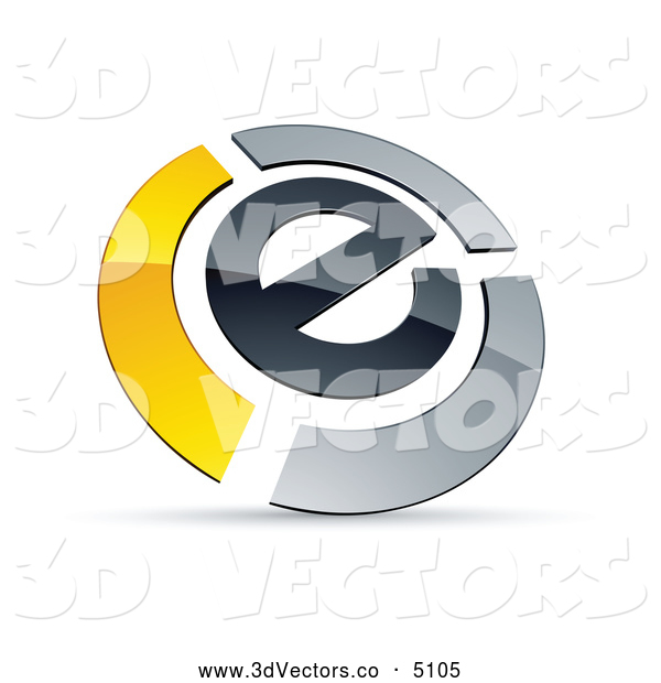 3d Vector Clipart of a Shiny E Circled by Chrome and Yellow Bars