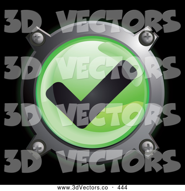 3d Vector Clipart of a Shiny Green Check Mark Button Icon on Black