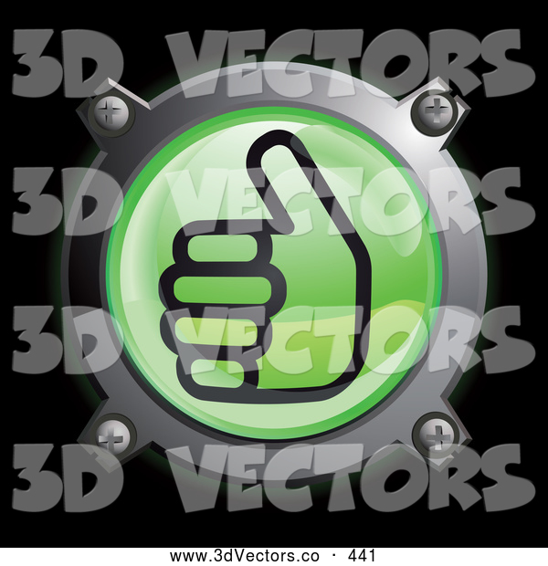 3d Vector Clipart of a Shiny Green Thumbs up Button Icon Logo