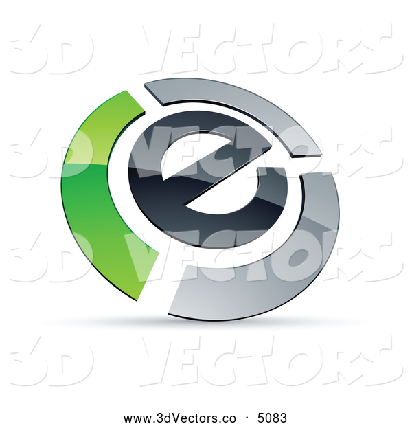 3d Vector Clipart of a Shiny Letter E Circled by Chrome and Green Bars
