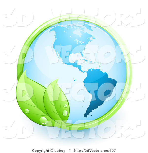 3d Vector Clipart of a Shiny Orb of Blue Earth over a White Background, with a Green Vine with Two Leaves and Dew Drops