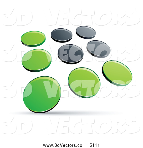 3d Vector Clipart of a Shiny Pre-Made Logo of Rows of Green and Black Dots