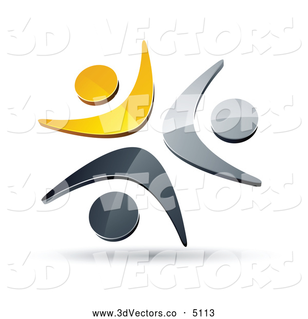 3d Vector Clipart of a Shiny Pre-Made Logo of Three Yellow, Chrome and Black People Celebrating or Dancing