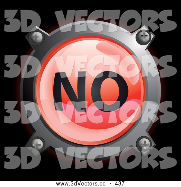 3d Vector Clipart of a Shiny Red No Button Icon on Black