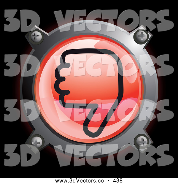 3d Vector Clipart of a Shiny Red Thumbs down Button Icon on Black