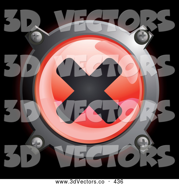 3d Vector Clipart of a Shiny Red X Button Icon on Black