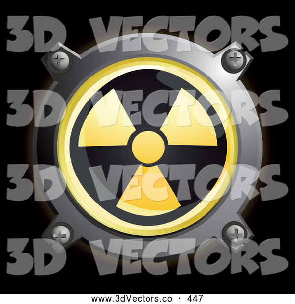 3d Vector Clipart of a Shiny Round Yellow Radiation Button Icon