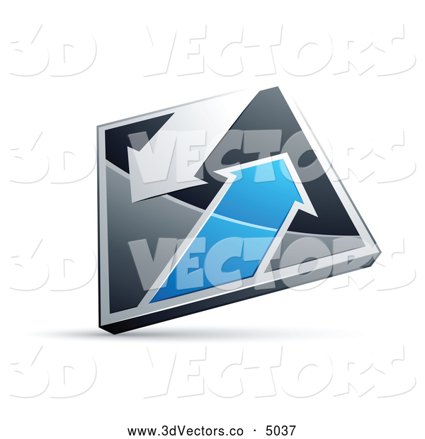3d Vector Clipart of a Silver or Chrome and Blue Diamond with Arrows