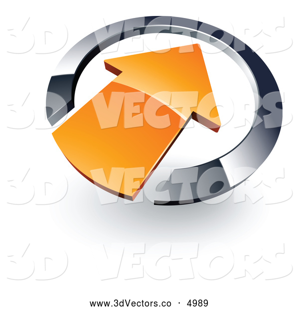 3d Vector Clipart of a Simple Orange Arrow Pointing Inwards in a Chrome Circle