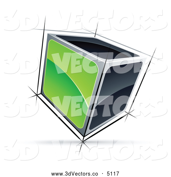 3d Vector Clipart of a Solid 3d Cube with Green and Black Sides