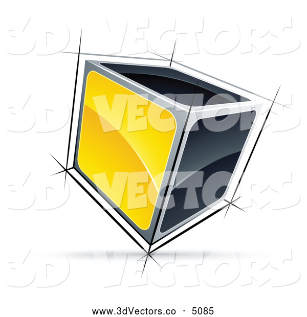 3d Vector Clipart of a Solid 3d Cube with Yellow and Black Sides