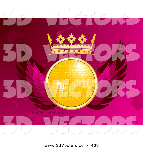 3d Vector Clipart of a Sparkly Yellow Disco Ball with a Crown and Pink Wings, over a Pink Grunge Dotted and Splattered Background