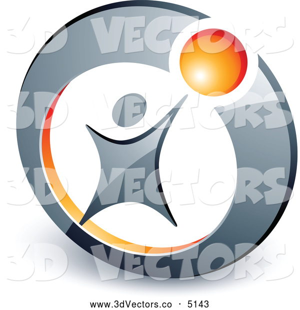3d Vector Clipart of a Stylized Person Reaching up to an Orange Ball in a Circle