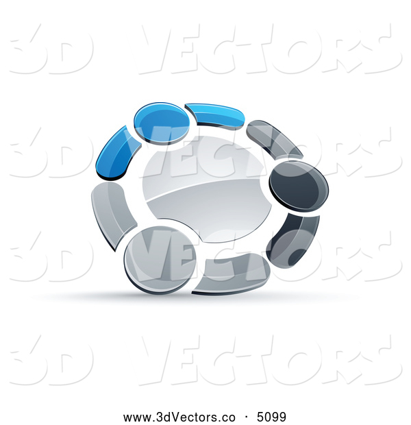 3d Vector Clipart of a Tight Circle of Three Blue, Gray and Black People Holding Hands