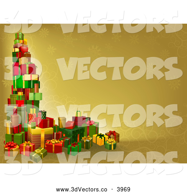 3d Vector Clipart of a Tower of Christmas Gifts on a Golden Background