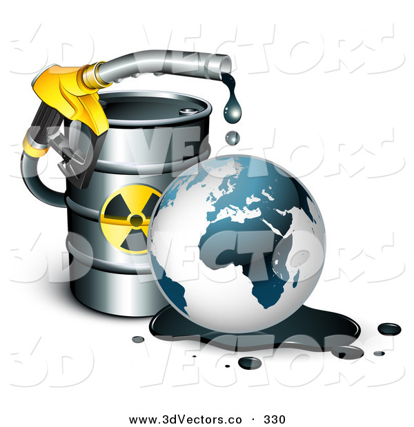 3d Vector Clipart of a Toxic Yellow Petrol Nozzle Dripping Oil over the Earth in Front of a Barrel of Gas