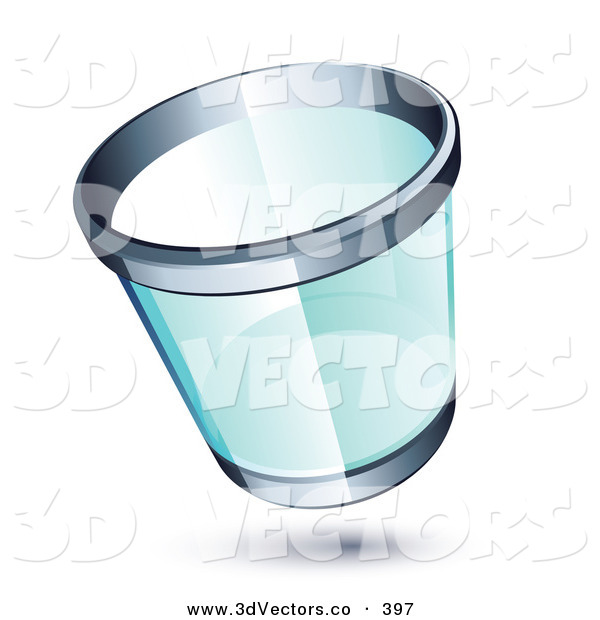 3d Vector Clipart of a Transparent Chrome Rimmed Trash Can