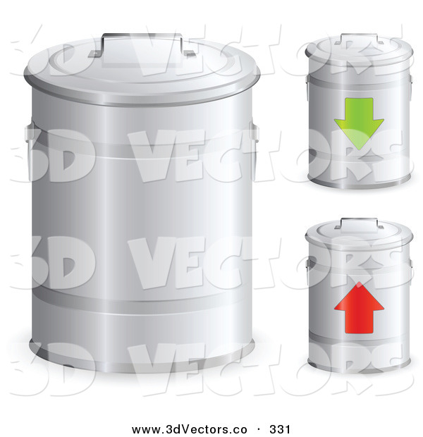 3d Vector Clipart of a Trio of Metal Trash Bins with Handles on the Lids, One with a Green Arrow and One with a Red Arrow