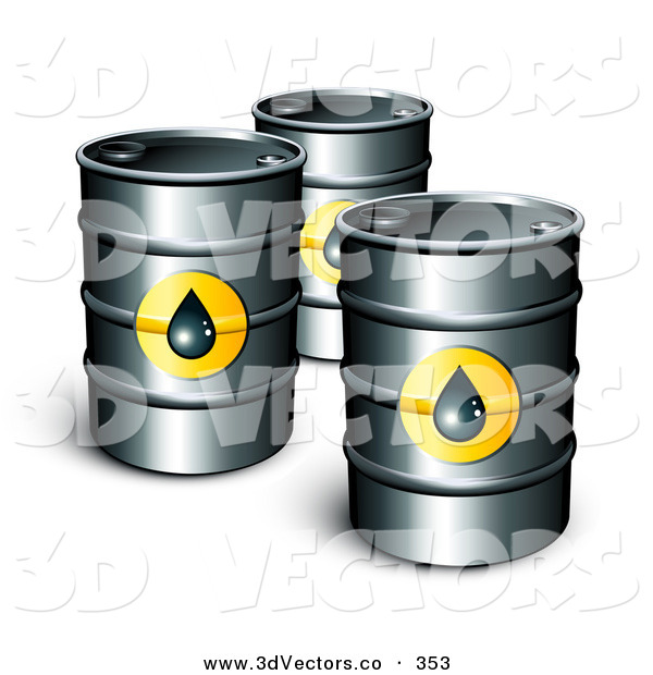 3d Vector Clipart of a Trio of Petrol Barrels of Gasoline with Oil Symbols
