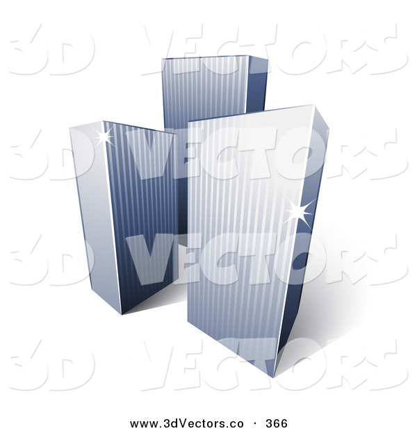 3d Vector Clipart of a Trio of Tall City Highrise Buildings with Sunlight Beaming off of the Corners