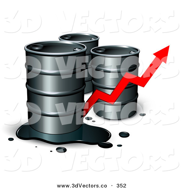 3d Vector Clipart of a Trio of Unmarked Barrels of Oil, One with a Spill, and a Red Arrow Showing an Increase of Gasoline Consumption or the Rise in Cost