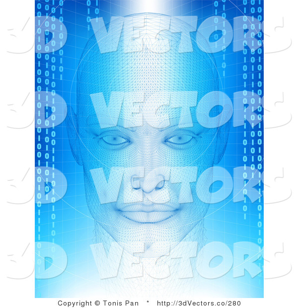 3d Vector Clipart of a Virtual Head with Binary Coding on Blue