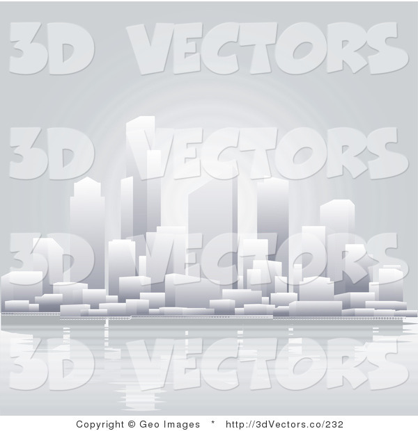 3d Vector Clipart of a Waterfront City