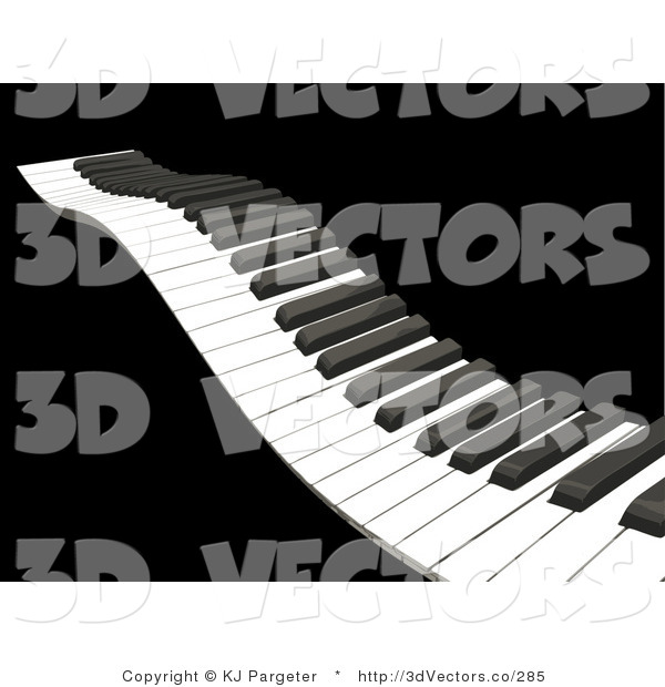 3d Vector Clipart of a Waving Piano Keyboard with White and Black Keys, over a Solid Black Background
