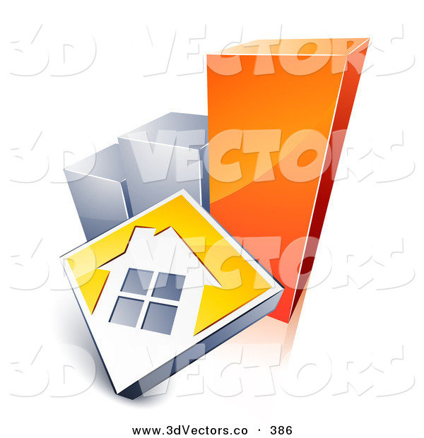 3d Vector Clipart of a White Home on a Yellow Block, Leaning Against a Silver and Orange Bar Graph, Showing an Increase in Home Loans, Sales, or Foreclosures