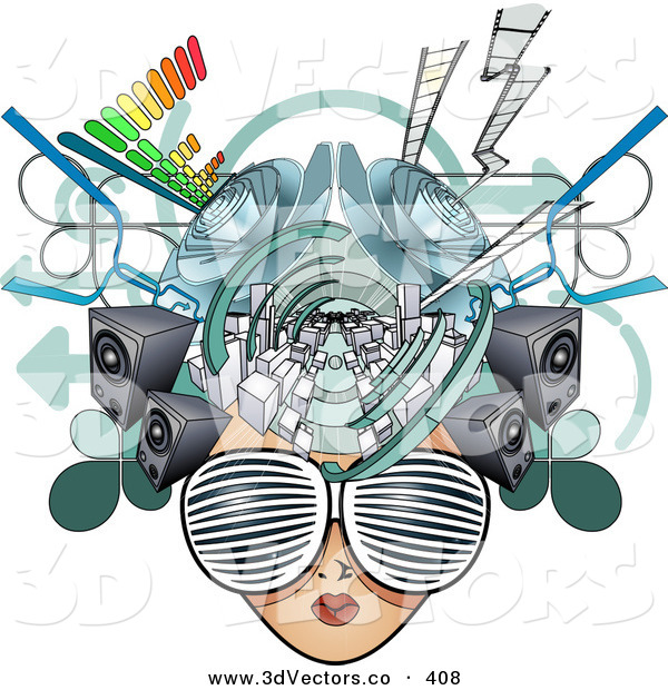 3d Vector Clipart of a Woman's Media Head with Visual Glasses, Speakers, Equalizers and Arrows