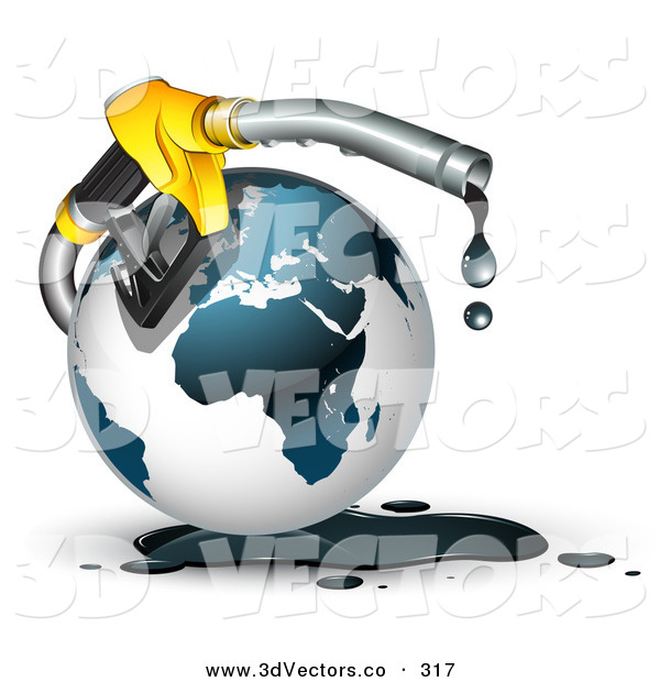 3d Vector Clipart of a Yellow Gasoline Nozzle Dripping Black Oil Around a Globe of Earth