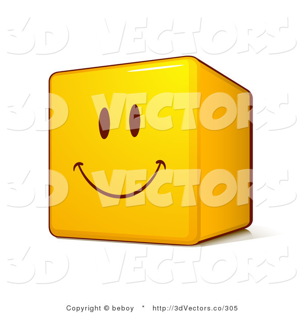 3d Vector Clipart of a Yellow Smiley Face Emoticon Cube with a Big Smile