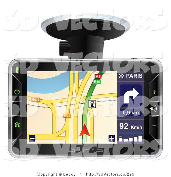 3d Vector Clipart of an Arrow Directing a Driver on the Screen of a Black GPS