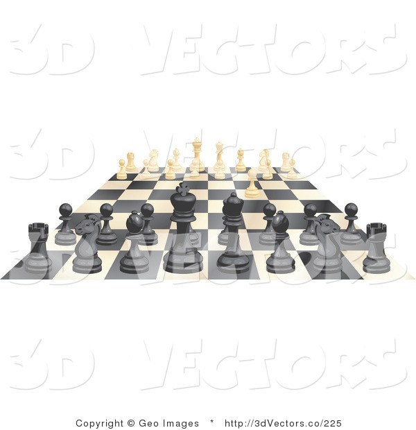 3d Vector Clipart of an Ebony and Ivory Chess Game Board