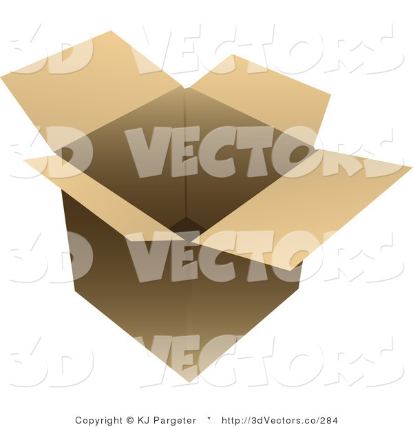 3d Vector Clipart of an Open Cardboard Box