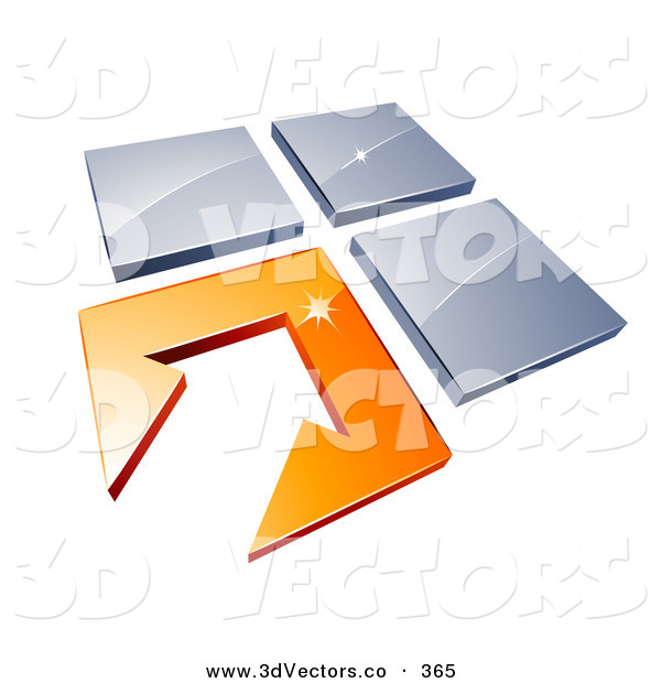 3d Vector Clipart of an Orange Arrow Tile Pointing to Three Other Tiles on White