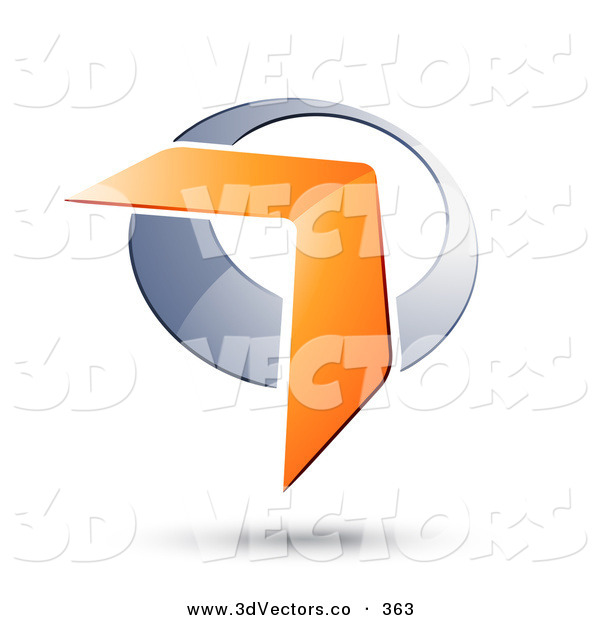 3d Vector Clipart of an Orange Boomerang or Arrow over a Silver Circle, with a Shadow