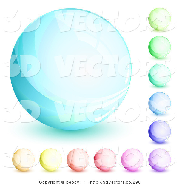 3d Vector Clipart of an Orb Set of Blue, Green, Purple, Red, Pink and Yellow Circles on White