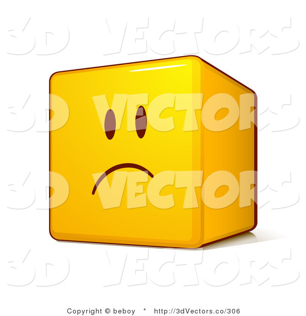 3d Vector Clipart of an Upset Yellow Smiley Face Emoticon Cube with Pouting and Frowning
