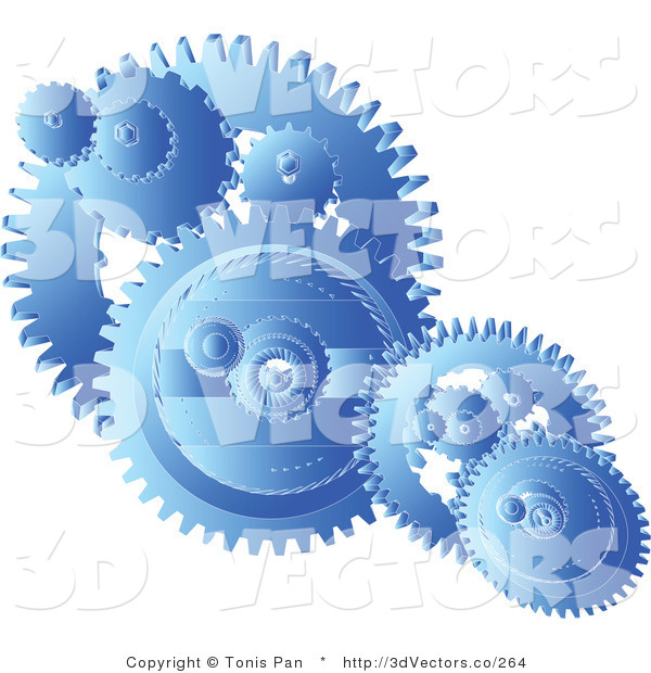 3d Vector Clipart of Blue Gears Cogs